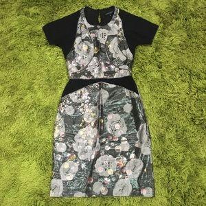 Cynthia Rowley Sheath Dress Size 0 XS Metallic Floral Print
